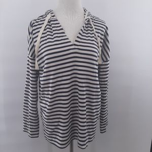 Lou & Grey blue and cream striped hoodie in small.
